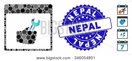 Mosaic Spanner Service Hand Calendar Page Icon And Grunge Stamp Seal With Nepal Caption. Mosaic Vect