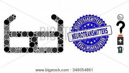Mosaic Spectacles Icon And Grunge Stamp Seal With Neurotransmitters Text. Mosaic Vector Is Formed Wi