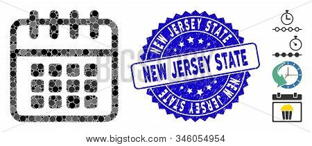 Mosaic Spiral Calendar Icon And Rubber Stamp Watermark With New Jersey State Phrase. Mosaic Vector I