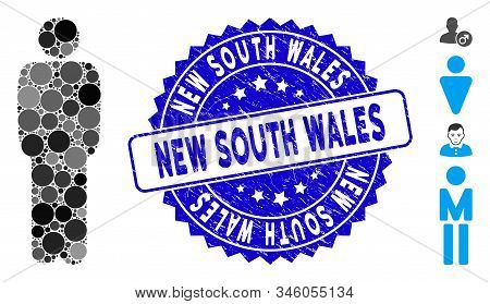 Mosaic Standing Man Icon And Corroded Stamp Seal With New South Wales Phrase. Mosaic Vector Is Forme