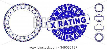 Collage Starred Round Frame Icon And Grunge Stamp Watermark With X Rating Text. Mosaic Vector Is For