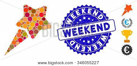 Mosaic Starting Star Icon And Distressed Stamp Seal With Weekend Phrase. Mosaic Vector Is Created Wi