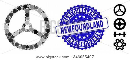 Mosaic Steering Wheel Icon And Rubber Stamp Watermark With Newfoundland Phrase. Mosaic Vector Is For