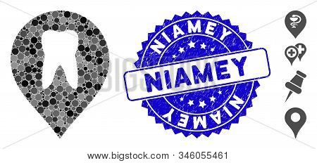 Mosaic Stomatology Marker Icon And Rubber Stamp Seal With Niamey Phrase. Mosaic Vector Is Created Wi