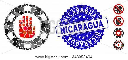 Mosaic Stop Gambling Chip Icon And Grunge Stamp Seal With Nicaragua Phrase. Mosaic Vector Is Formed
