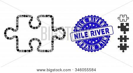 Mosaic Stroke Puzzle Item Icon And Grunge Stamp Seal With Nile River Caption. Mosaic Vector Is Forme