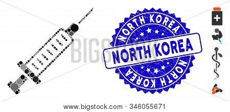 Collage Syringe Icon And Grunge Stamp Seal With North Korea Caption. Mosaic Vector Is Designed With