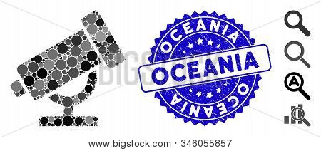 Mosaic Telescope Icon And Corroded Stamp Watermark With Oceania Caption. Mosaic Vector Is Created Wi