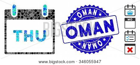Collage Thursday Calendar Page Icon And Grunge Stamp Watermark With Oman Phrase. Mosaic Vector Is Cr
