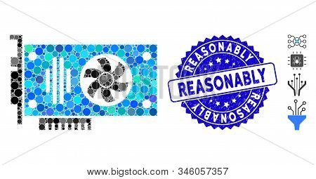 Mosaic Videocard Icon And Corroded Stamp Seal With Reasonably Phrase. Mosaic Vector Is Formed With V