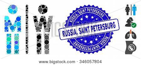 Mosaic Wc Persons Icon And Corroded Stamp Watermark With Russia, Saint Petersburg Text. Mosaic Vecto