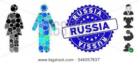 Mosaic Wc Persons Icon And Corroded Stamp Seal With Russia Text. Mosaic Vector Is Designed With Wc P