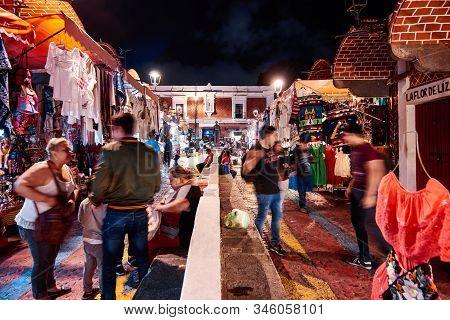 Puebla De Zaragoza, Mexico, October 15, 2018 - Unique Handcraft Market Of Puebla El Parian With Tour