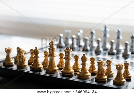 Chess Board Game Represent To Business Strategy, Planning, Decision, And Competition Concept. Hobby