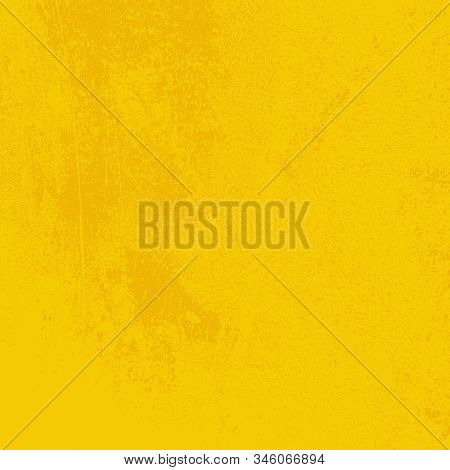 Brushed Yellow Paint Cover. Distress Urban Used Texture. Grunge Rough Dirty Background. Overlay Aged
