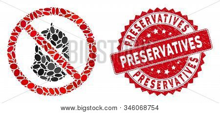Mosaic No Killer Icon And Red Corroded Stamp Seal With Preservatives Caption. Mosaic Vector Is Desig