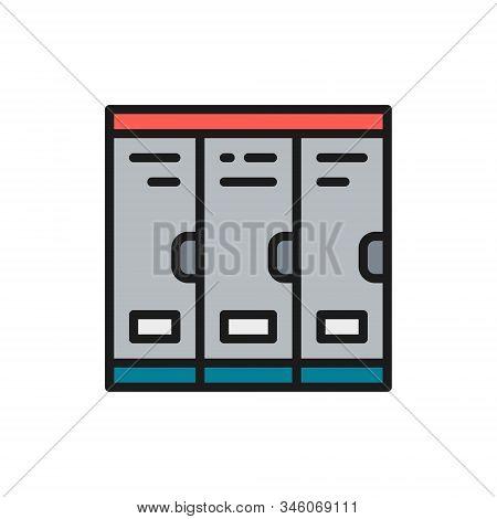 Cabinets, School Lockers, Locker Room Flat Color Line Icon.