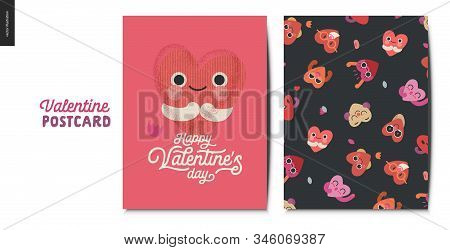 Valentines Postcards -valentines Day Graphics. Modern Flat Vector Concept Illustration - Greeting Ca