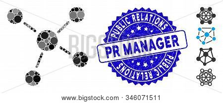Collage Links Icon And Distressed Stamp Seal With Public Relations Pr Manager Text. Mosaic Vector Is