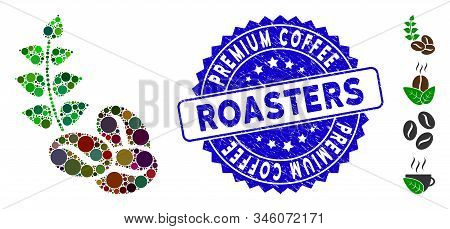 Mosaic Organic Coffee Beans Icon And Corroded Stamp Watermark With Premium Coffee Roasters Phrase. M