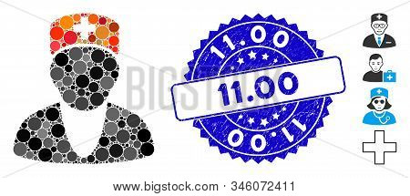 Mosaic Medic Icon And Rubber Stamp Seal With 11.00 Caption. Mosaic Vector Is Formed From Medic Icon