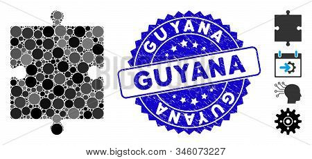 Mosaic Puzzle Part Icon And Grunge Stamp Seal With Guyana Caption. Mosaic Vector Is Designed With Pu
