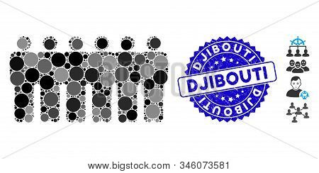 Mosaic People Demographics Icon And Rubber Stamp Seal With Djibouti Caption. Mosaic Vector Is Design