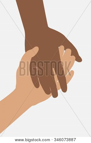 The Two Hands Are Held Together. The Hand Of A Black And White Man. Help And Mutual Help. Vector Eps