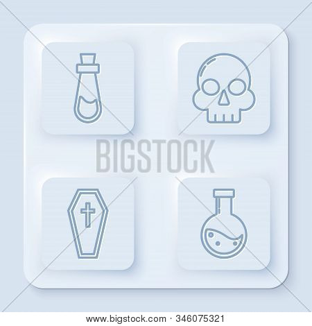 Set Line Bottle With Potion , Skull , Coffin With Christian Cross And Bottle With Potion . White Squ