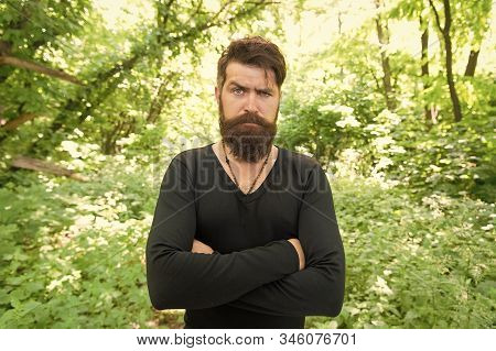 His Brutal Style. Brutal Hipster Wearing Casual Style Outdoor. Bearded Man With Brutal Look Keeping