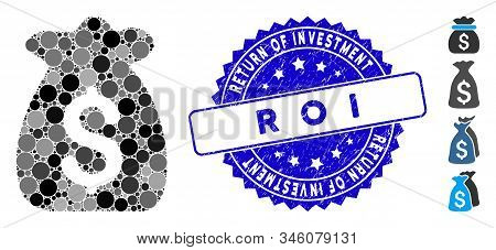 Mosaic Financial Capital Icon And Rubber Stamp Watermark With Return Of Investment R O I Caption. Mo