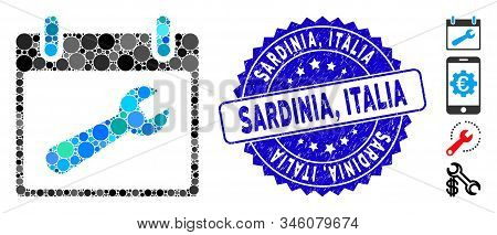 Mosaic Wrench Tool Calendar Day Icon And Rubber Stamp Watermark With Sardinia, Italia Caption. Mosai