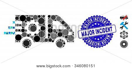 Mosaic Service Car Icon And Distressed Stamp Seal With Major Incident Phrase. Mosaic Vector Is Compo