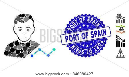 Mosaic User Chart Icon And Distressed Stamp Watermark With Port Of Spain Text. Mosaic Vector Is Desi