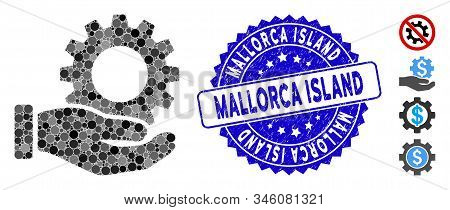 Mosaic Service Gear Icon And Rubber Stamp Watermark With Mallorca Island Text. Mosaic Vector Is Form