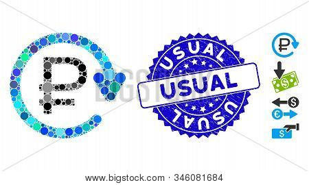 Mosaic Rouble Recurring Payment Icon And Grunge Stamp Watermark With Usual Text. Mosaic Vector Is De