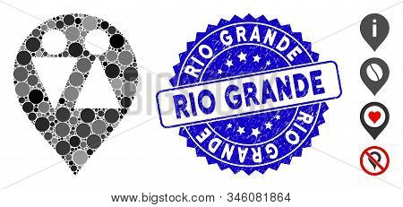 Mosaic Wc Map Marker Icon And Rubber Stamp Seal With Rio Grande Caption. Mosaic Vector Is Created Fr