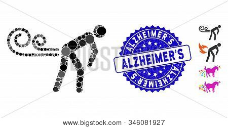 Collage Farting Wind Icon And Distressed Stamp Seal With Alzheimers Phrase. Mosaic Vector Is Designe