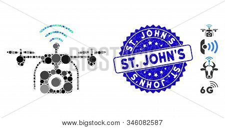 Mosaic Radio Camera Drone Icon And Corroded Stamp Seal With St. Johns Text. Mosaic Vector Is Compose