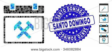 Mosaic Working Calendar Page Icon And Grunge Stamp Seal With Santo Domingo Caption. Mosaic Vector Is