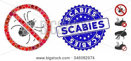 Mosaic No Mite Icon And Rubber Stamp Seal With Scabies Text. Mosaic Vector Is Composed With No Mite