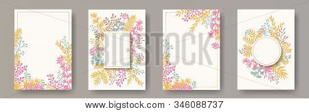 Wild Herb Twigs, Tree Branches, Flowers Floral Invitation Cards Collection. Bouquet Wreath Romantic