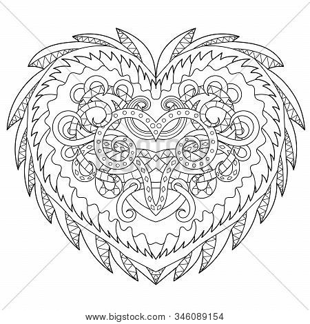 Adult Coloring Page For Antistress Art Therapy With Editable Line. Beautiful Patterned Heart In Zend