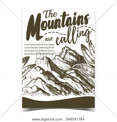 Mountains Calling Hiking Advertising Poster Vector. High Altitude Summit Of Mountains Landscape And