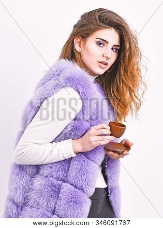 Enjoy Aroma And Taste Hot Coffee. Woman Fur Coat Drink Coffee. Elite Coffee Concept. Elite Coffee Va