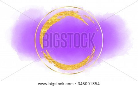 Modern Abstract Card With Purple Watercolour Blotch . Creative Vector Watercolour Element. Brush Str