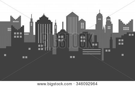 Black And White Colour Of Shadow In City Town Silhoutte