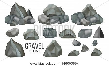 Stone Gravel And Granite Collection Set Vector. Different Shape Stone, Stacked Concrete Pebble. Natu