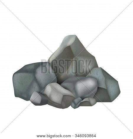 Stone Rock Stacked Pile Fieldstones Cobbles Vector. Solid Strong Stone Crag Exterior Detail And Part