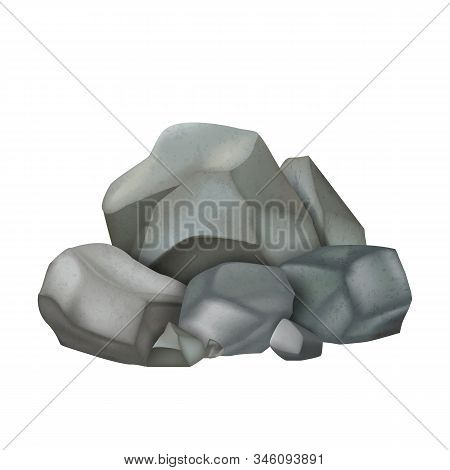 Stone Gravel Pile Cobblestone Boulders Vector. Heap Of Grey Solid Strong Stone Castle Build Material